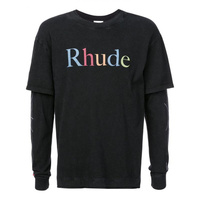 19ss RHUDE fake two pieces T shirt men women high quality 1:1 spide web long sleeves streetwear hip hop RHUDE T shirt