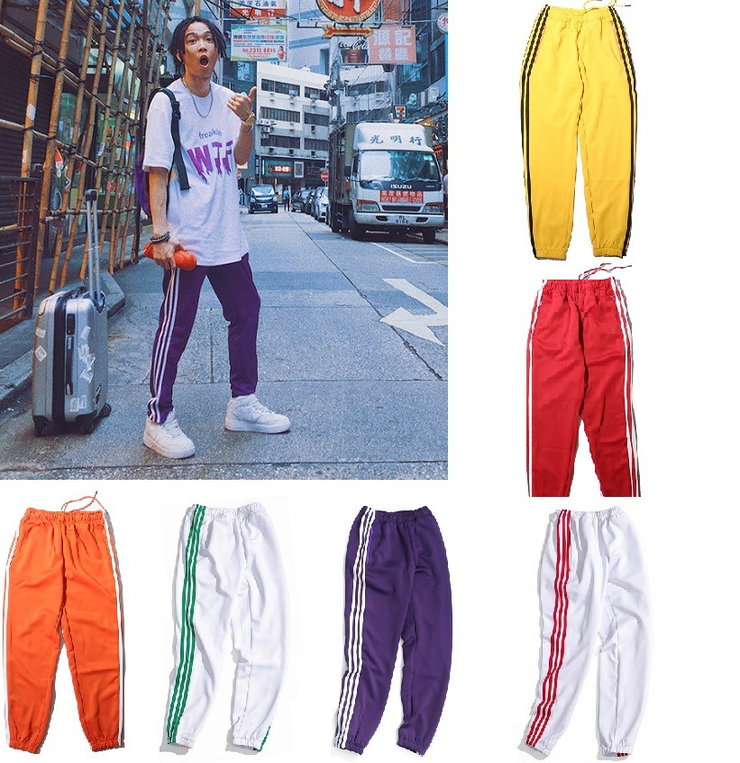 China Have Hiphop TT Wu Yifan Celebrity Style Three Bars Multi-color Large Size Men And Women Couples Athletic Pants Casual Trou