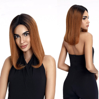Dark Blonde Ombre Human Hair Wig Short Straight Bob Wig 13x6 Brazilian Remy Human Hair Lace Front Wig Free Part Two Tone #1B/#30