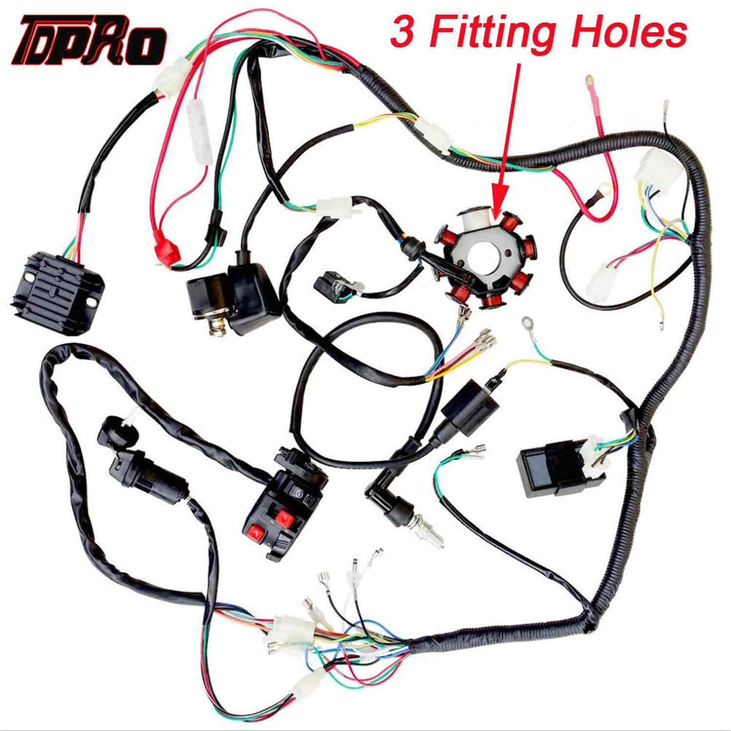 Tdpro Motorcycle Full Complete Electrics Wiring Harness Loom Ignition Coil Cdi Switch For Scooter Moped 125cc 250cc Pitbike Go K Aliexpress