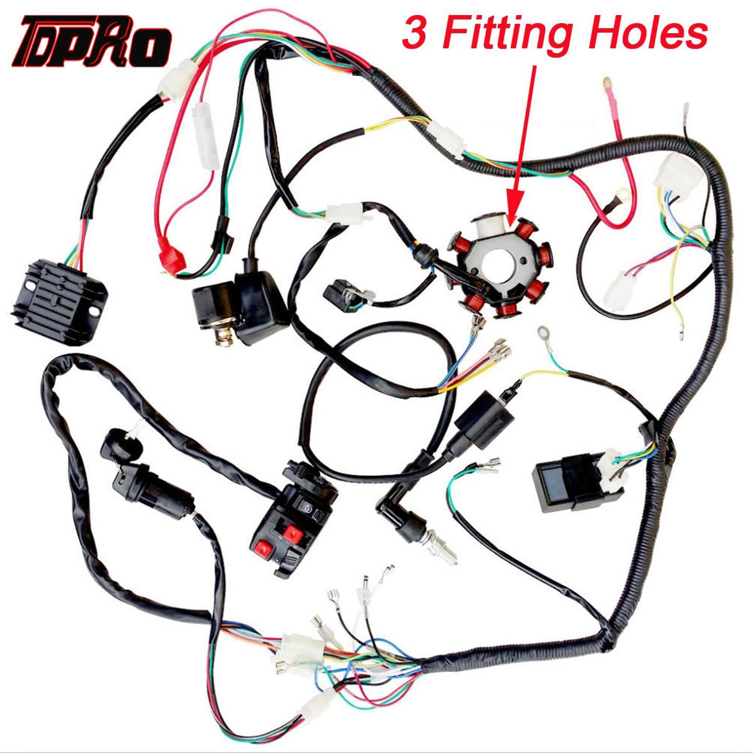 TDPRO Motorcycle Full Complete Electrics Wiring Harness Loom Ignition Coil CDI Switch For Scooter Moped 125cc~250cc Pitbike Go Kart image