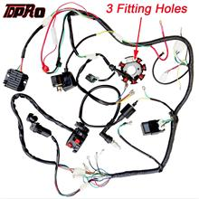 TDPRO Motorcycle Full Complete Electrics Wiring Harness Loom Ignition Coil CDI Switch For Scooter Moped 125cc~250cc Pitbike Go Kart