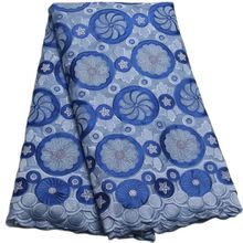 Hot sale 5 Yards BLUE High quality African Swiss Voile Lace for wedding Cotton Fabric-JL020aa