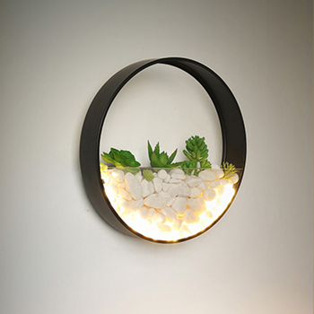 Modern Plant LED Wall Lamp Bedroom Bedside Decor Metal Sconce White Black Lights Round  Artificial Flowers Stone