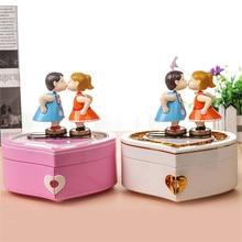 Love Girls Musical Jewelry Boxes Ballerina Dancing Christmas Music Box Couple Kiss Hand Crank Birthday Gifts A-353