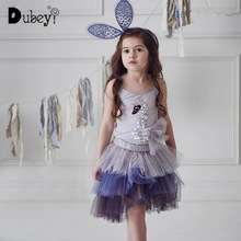 Girls Sequin Swan Sling Dress Elegant Little Girl Swan Costumes Summer Sleeveless Suspender Dress Kids Party Clothes недорого
