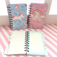 1 Pcs Cute Cartoon Unicorn Memo Pad Hard Cover Coil Paper Notebook Easy Flip Study Notes School Supplies Stationery