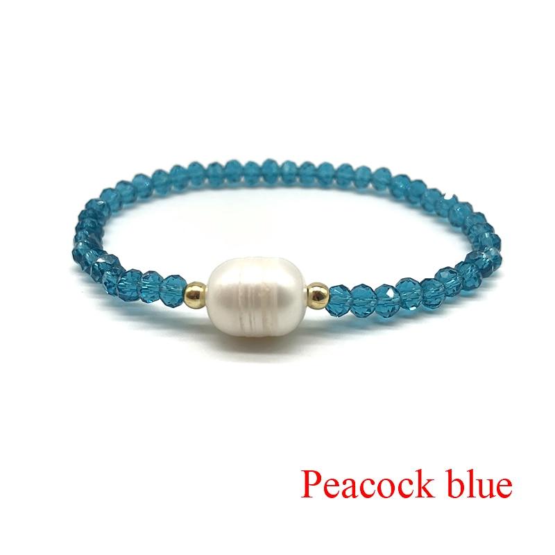 Crystal Glass Beads Natural Freshwater Pearl Bracelets For Women Elastic Line Handmade Strand Bracelets Fashion Beaded Bracelet