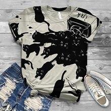 Camisetas Harajuku de talla grande para Mujer, Tops de verano con estampado de gato y cuello redondo, Camisetas de manga corta para Mujer