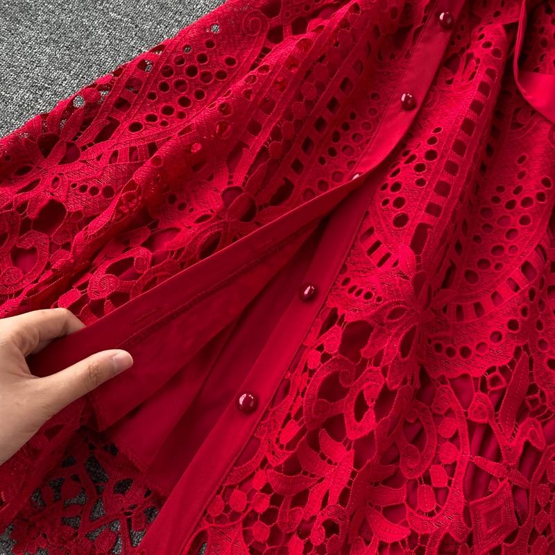 Elegant Hollow Out Balck Red White Short Sleeve Beach Dress 13