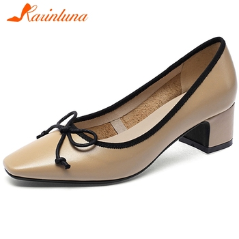 KARINLUNA 2020 New Ladies Med Chunky Heel Pumps Brand Square Toe Real Leather Pumps Women Spring Office Shallow Shoes Woman