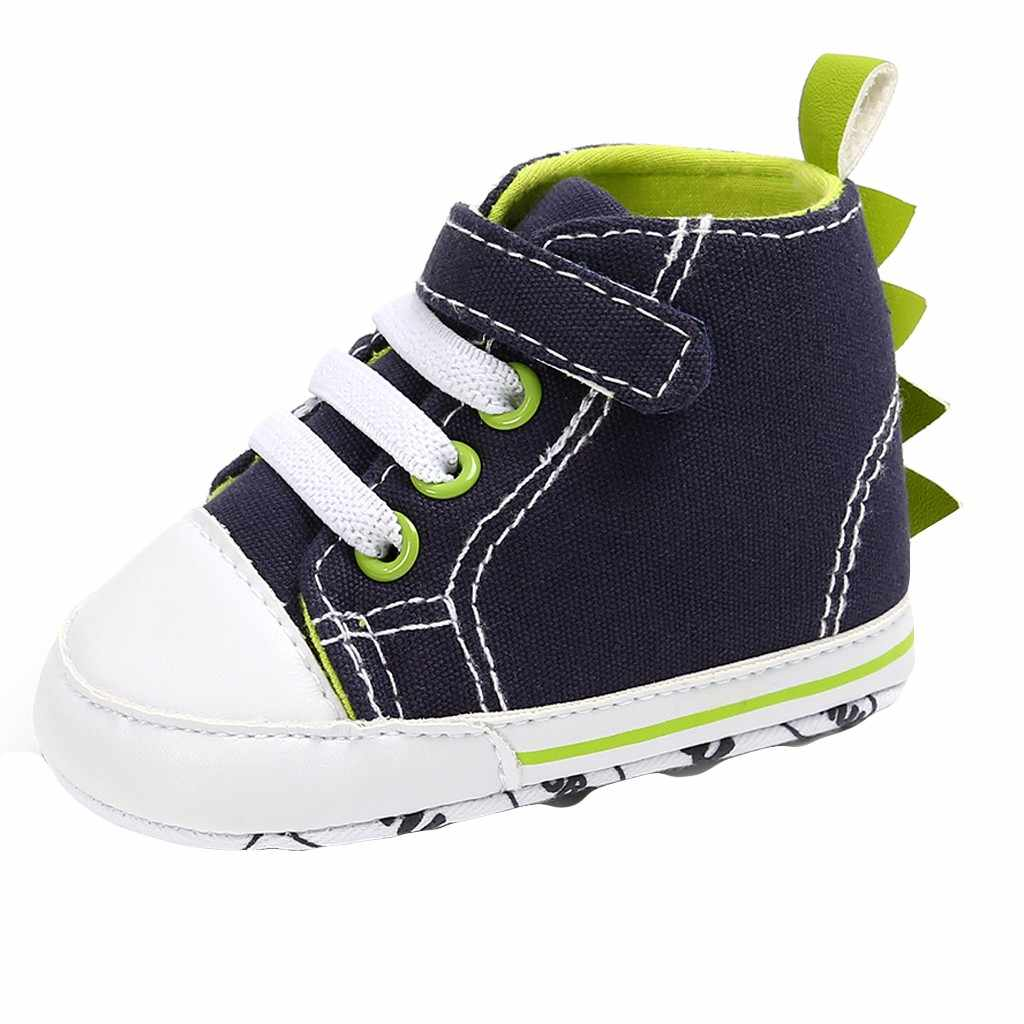 Nuevos zapatos deportivos de lona para bebé para niñas y niños, zapatos para recién nacidos, andador de bebé, niño pequeño, con lindo ángulo divertido de dinosaurio