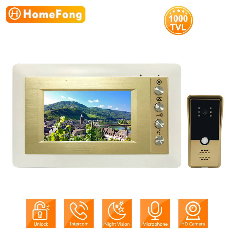 HomeFong Video Intercom Wired Doorbell 1000 TVL Call Panel Camera Entry System Kit 4 Inch Video Door Phone for Home Security