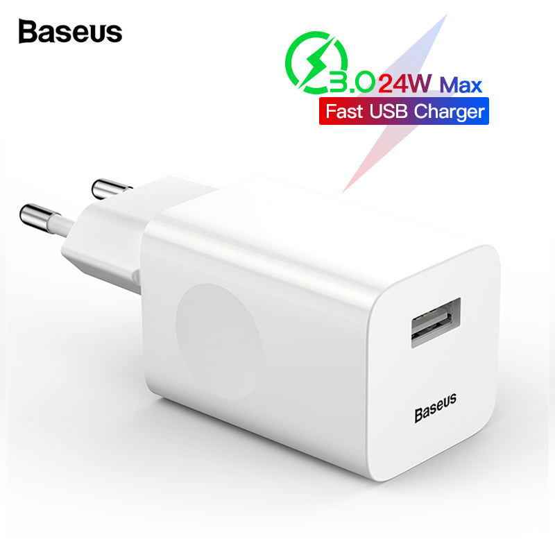 BASEUS 24W Quick Charge 3.0 Usb Charger QC3.0 Dinding Charger Ponsel untuk iPhone X Xiao Mi Mi 9 tablet iPad Uni Eropa QC Pengisian Cepat