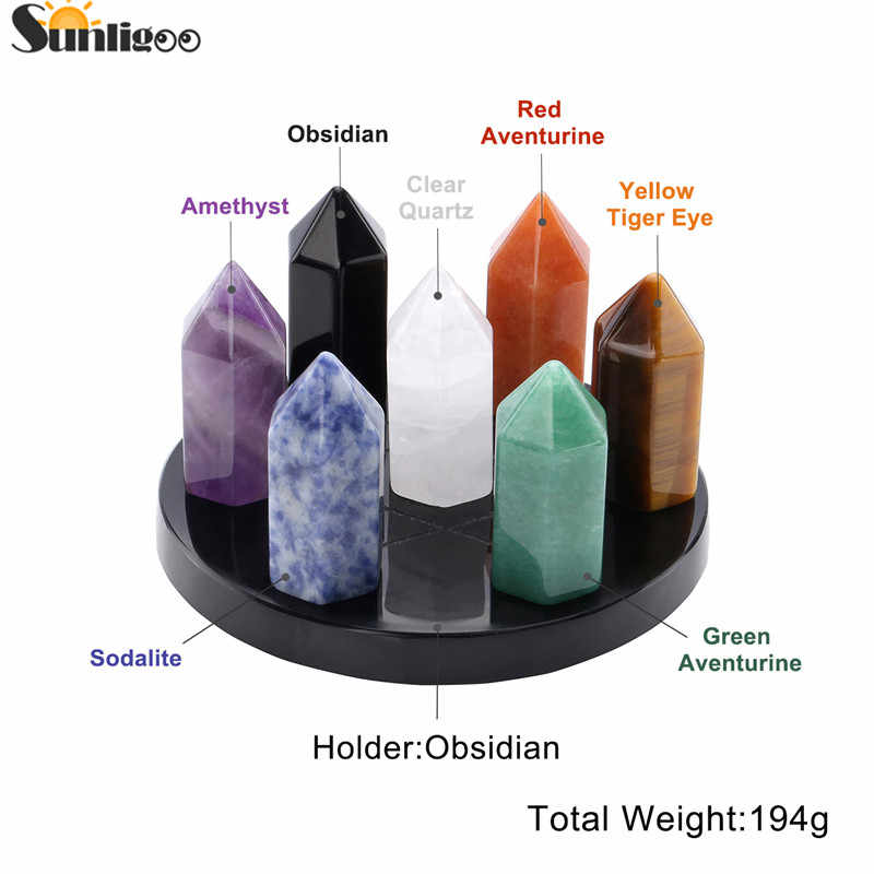 Sunligoo טבעי ריפוי קריסטל נקודות 6 פיאות טבעי קריסטל שרביט מלוטש מכובס אבן עבור רייקי צ 'אקרה מדיטציה דקור