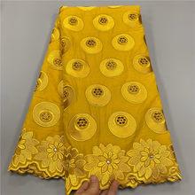 Tissu africain en dentelle suisse 2020 coton brodé de perles, longueur 5 yards, 100%