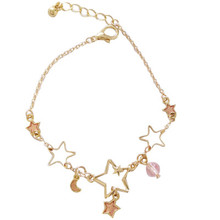 Delicate Simple Gold Star Moon  Pendant  Bracelet For Women Girls Party Prom  Personality  Bangle Jewelry Accessory 2020 new korean vintage star and moon rhinestone bracelet for women gold pearl girl bracelet gifts fashion jewelry accessory