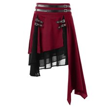 3XL Dark Goth Harajuku Asymmetrical Black Skirts Women Patchwork Hip Hop Mini Skirt Hipster Motorcycle Punk Rock Red Streetwear