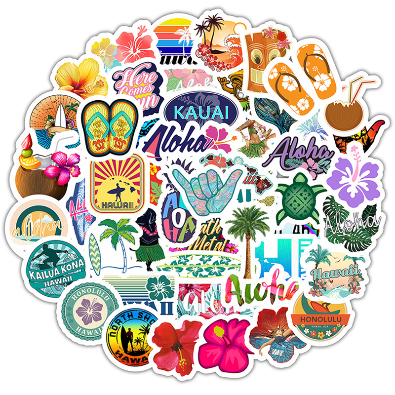50pcs Hawaii Tropical Beach Summer Hibiscus Flower Cartoon Sticker For Laptop Computer Skateboard Luggage Helmet Toy Stickers F5