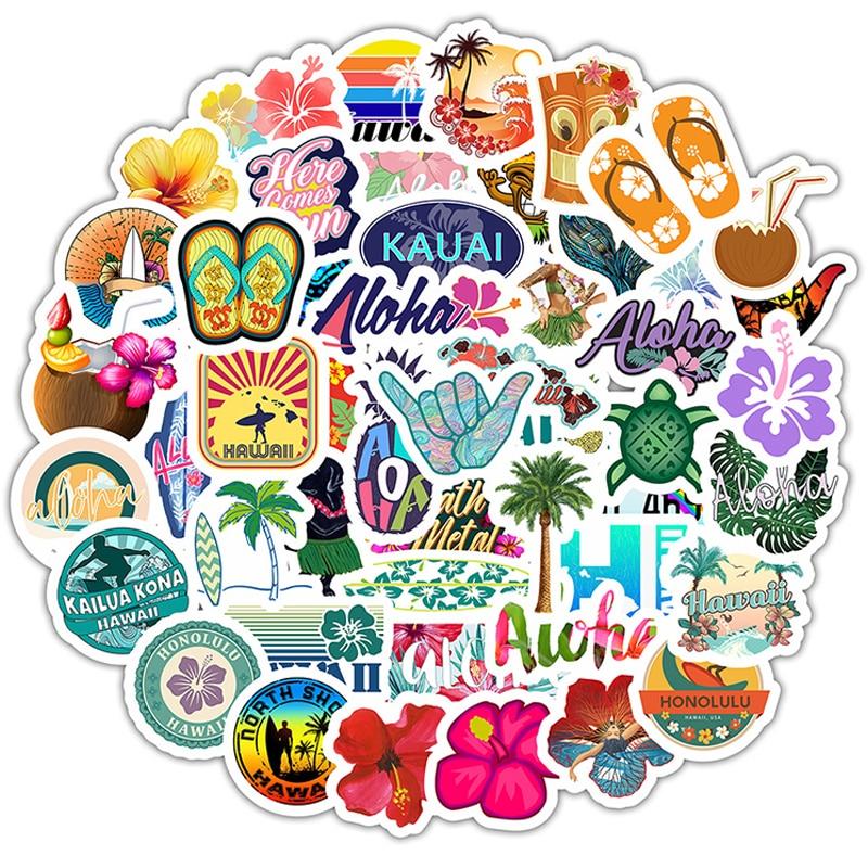 50pcs Hawaii Tropical Beach Summer Hibiscus Flower Cartoon Sticker For Laptop Computer Skateboard Luggage Helmet Toy Stickers F5