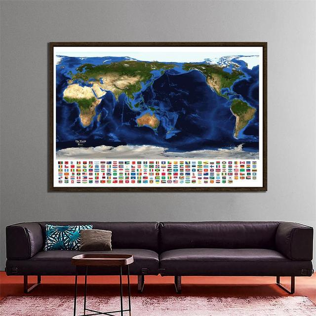 150x225cm Aerial View Of Satellite Map The World Topography And Bathymetry Map With National Flags For