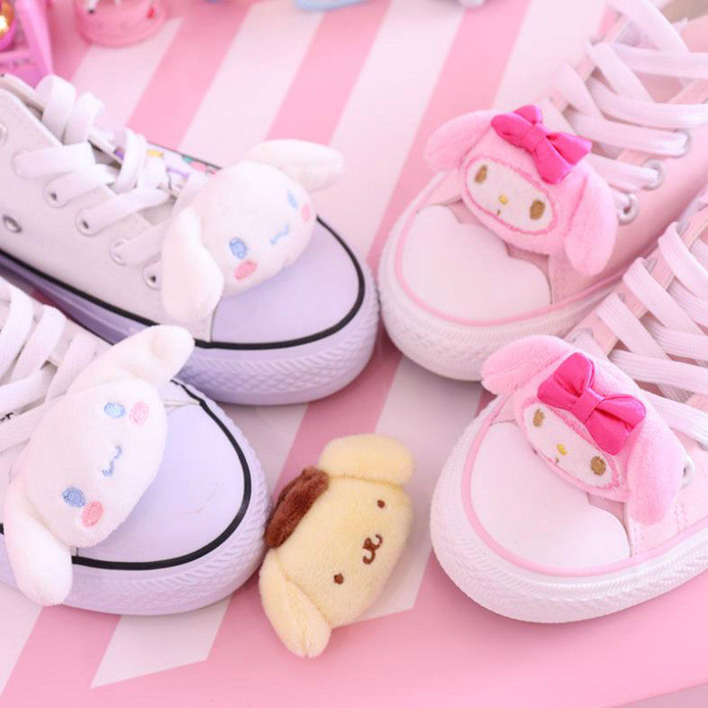 1PC Cute Cartoon Melody Cinnamoroll Pudding Dog Stuffed Plush Doll for Shoes Buckles Accessories Decor Plush Toys Kids Girl Gift