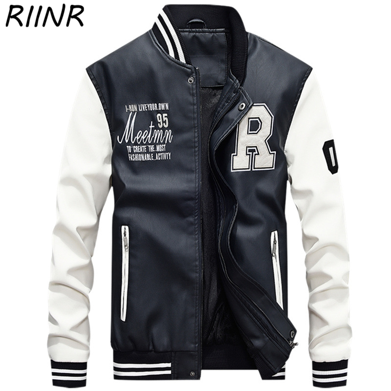 RIINR Autumn And Winter New Men's Zipper Leather Clothing Fashion Trend Baseball Uniform Letter Printing PU Casual Jacket M-4XL
