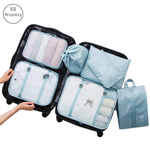 New 7Pcs/set Travel Packing Storage Bag High quality Shoes Clothes Toiletry Organizer Trip Luggage Pouch Kits Accessories