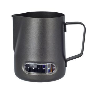 Dzbanek do spieniania mleka 20 uncji z naklejką na termometr Stianless Steel Espresso Latte do gotowania na parze matowy czarny tanie i dobre opinie Leeseph STAINLESS STEEL