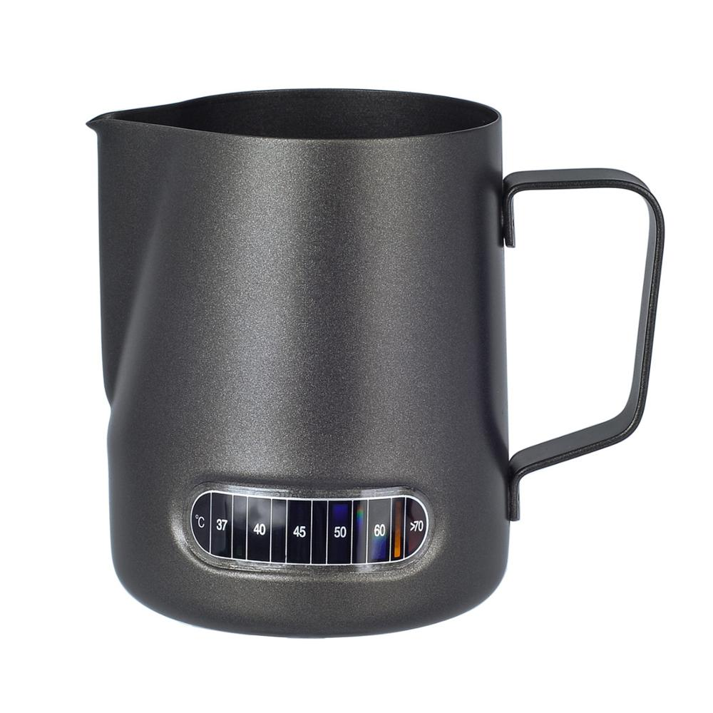 Milk Frothing Pitcher 20oz With Thermometer Sticker, Stianless Steel Espresso Latte Steaming Frothing Cup, Matte Black