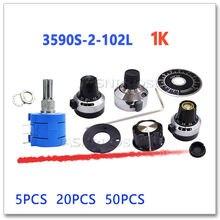 JASNPROSMA 5PCS 20PCS 50PCS 3590S-2-102L 1K Scale plastic iron copper knob Precision multi turn potentiometer 3590S 2 3590