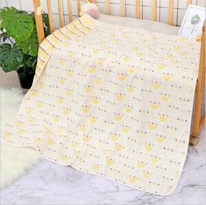 Image 5 - Couverture pour bébé en mousseline de coton 110x110 CM, 6 couches, épais pour nouveau né pour emmailloter, literie, dessin animé, réception
