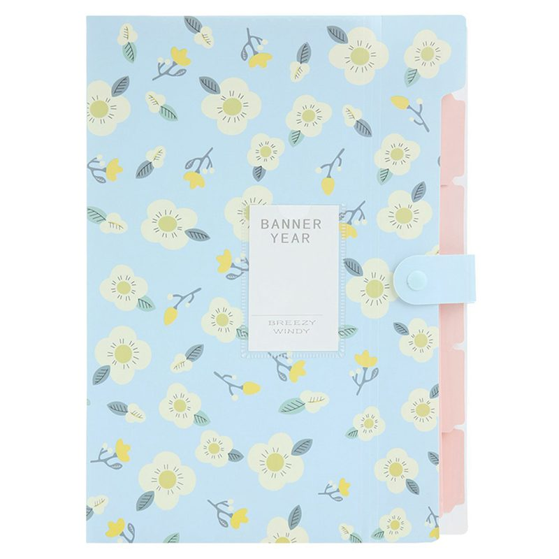 Skydue Floral Printed Accordion Document File Folder Expanding Letter Organizer (Blue)
