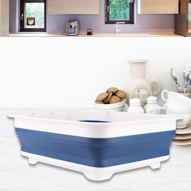 New Foldable Dish Rack Kitchen Storage Holder Drainer Bowl Tableware Plate Portable Drying Rack Home Shelf Dinnerware Organizer 5