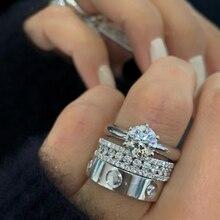 Anillos de oro blanco con diamantes de piedra para mujer y hombre, Banda de la marca europea, 10KT