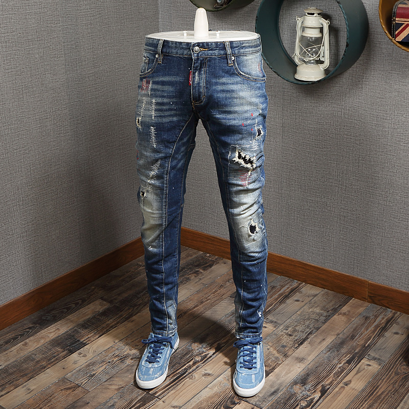 Fashion Streetwear Men Jeans High Quality Retro Blue Destroyed Ripped Jeans Men Slim Fit Baggy Pants Italian Style Hip Hop Jeans