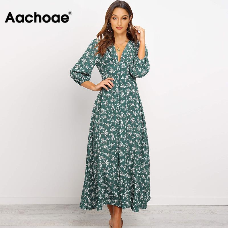 Aachoae Women V Neck Long Shirt Dress 2020 Autumn Floral Print Three Quarter Sleeve Split Dress Casual Button Boho Midi Dresses