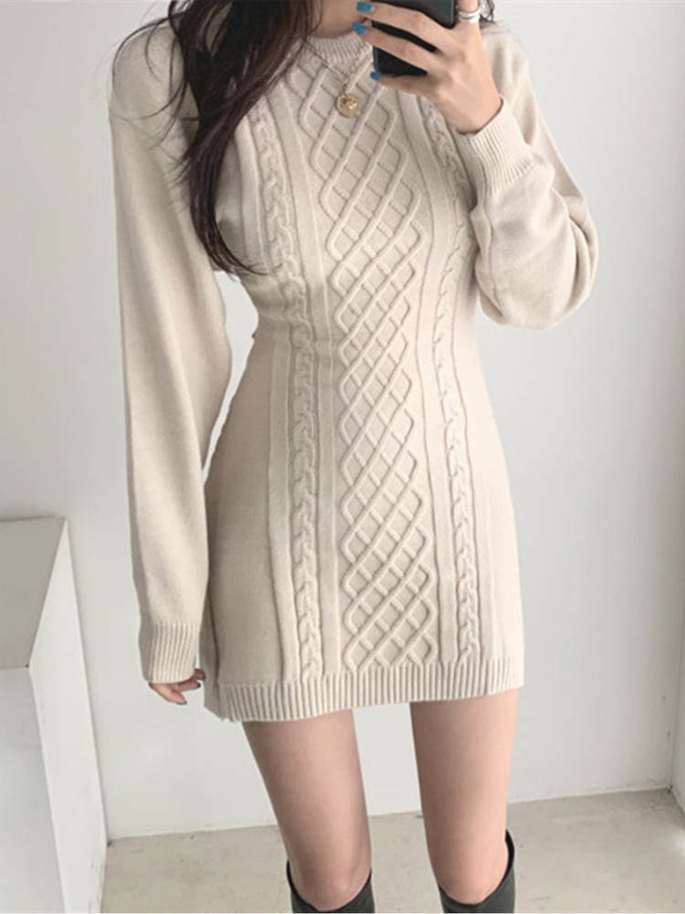 Mini Dress Waist-Sweater Bodycon Hollow-Out Autumn High-Elastic Winter Fashion 3-Colors