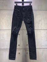 men leather ribbed patch stretchy skinny distressed black jeans