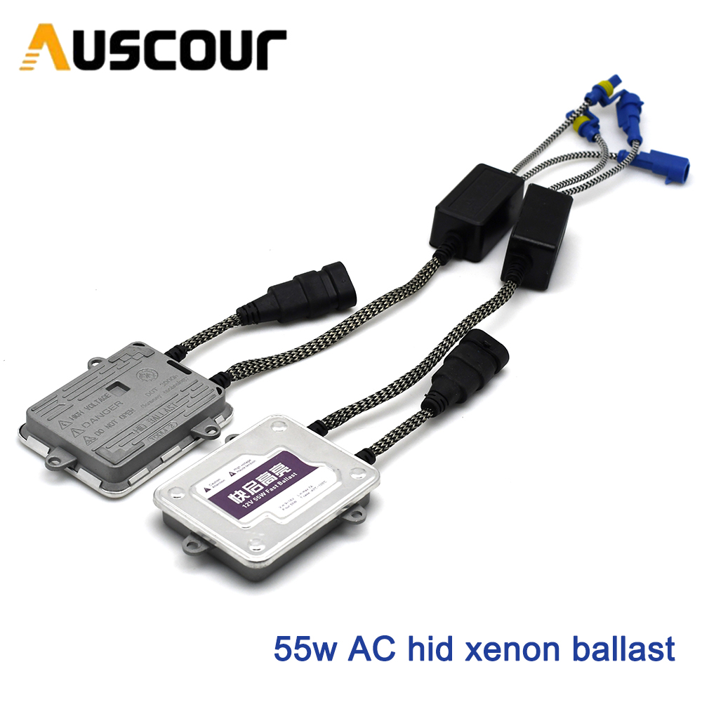 2pcs 55w AC hid xenon lastro escondeu kit de conversão xenon lastro lâmpada xenon cor branca 6000k do farol do carro auto lâmpada h1 h7 h8