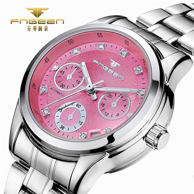 FNGEEN Pink Ladies Watch Skeleton Automatic Mechanica Rhinestone Luxury Women Watches Girl Crystal Reloje Mujer Montre Femme