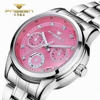 FNGEEN pembe bayanlar İzle İskelet otomatik mekanik Rhinestone lüks kadın saatler kız kristal Reloje Mujer Montre Femme