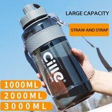 Garrafas de água portáteis de plástico, 1l, 2l e 3l, grande capacidade, esportes, para atividades ao ar livre, acampamento, piquenique, ciclismo, escalada, garrafas para beber