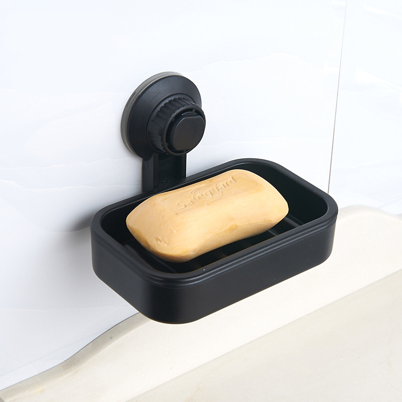 Black Plastic Soap Holder Soap Dish Draining Double-layer Soap Dishes Suction Cup Soap Box For Bathroom Lavatory Kitchen