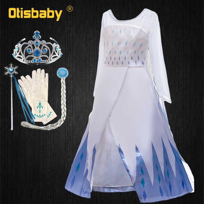 Fancy Meisjes Sneeuw Koningin Pailletten Prinses Jurk Elza Cothes Zomer Baby Meisje Elsa 2 Witte Jurk Met Lange Mantel Vestidos menina