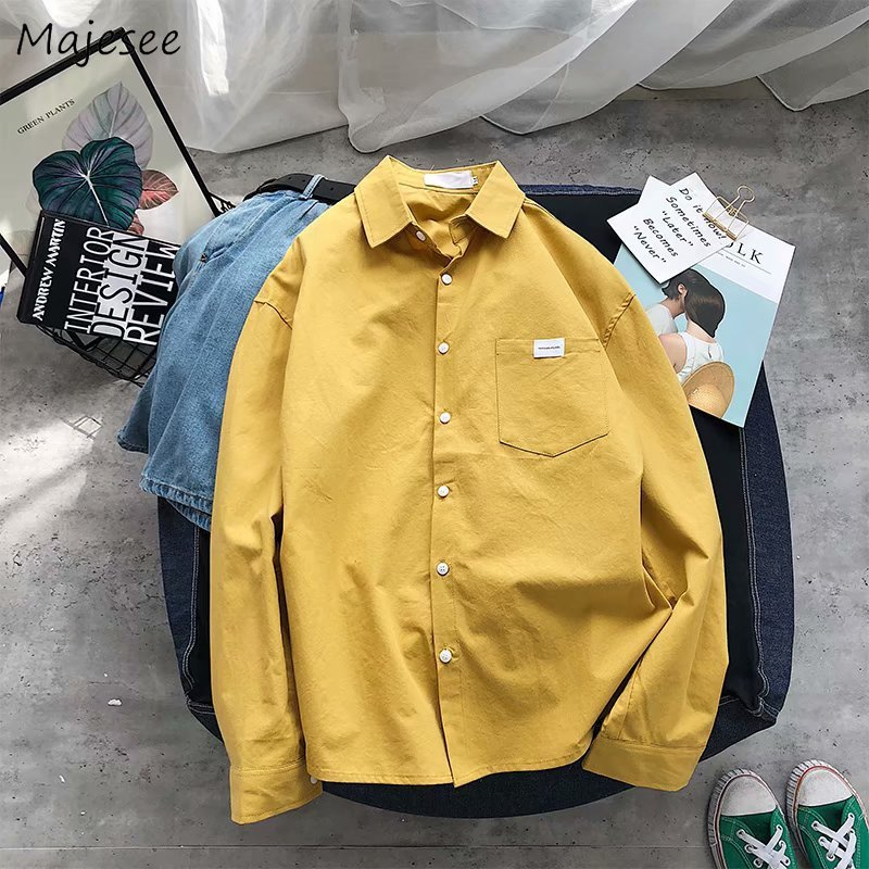 Shirts Men Solid Simple Long Sleeve All Match Chic Thin Mens Korean Style Daily Turn-down Collar Single Breasted Pocket Shirt