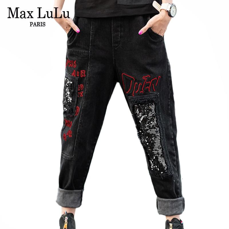 Max LuLu Fashion Korean Style Ladies Winter Denim Trousers Womens Punk Ripped Harem Pants Vintage Sequins Female Printed Jeans