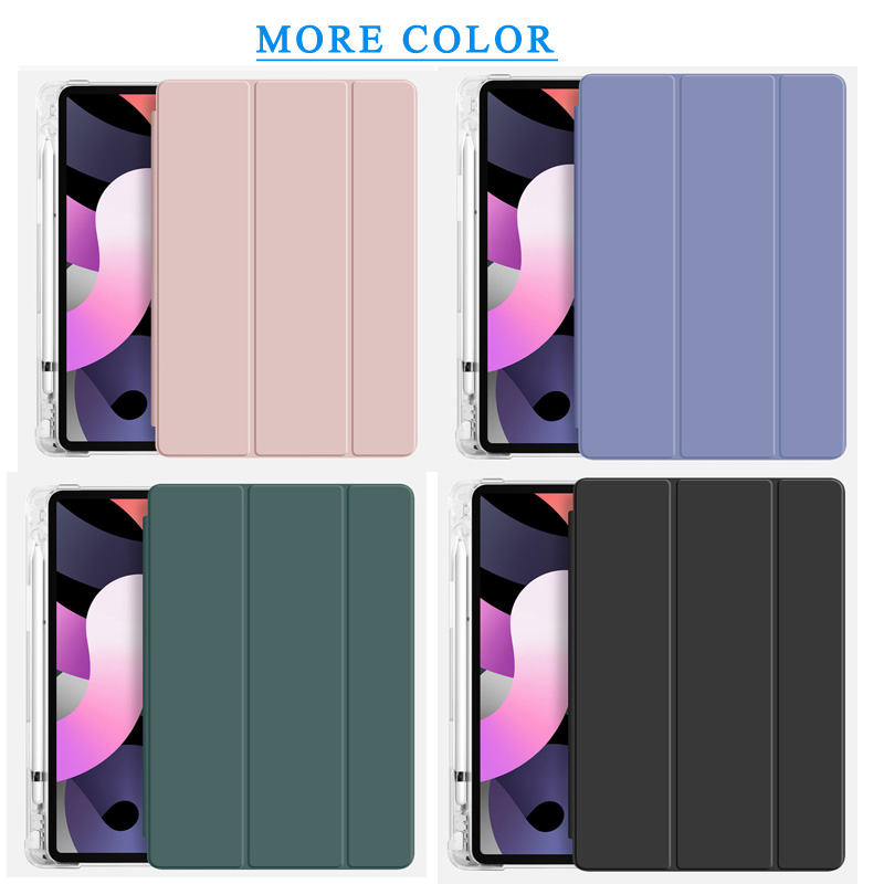 Flip leather case For iPad Air 4 10 9 2020 Translucent back Case With Pen slot