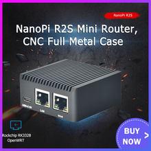 NanoPi R2S Rockchip RK3328 z metalową obudową CNC minirouter podwójny Port Gigabit 1GB dużej pamięci