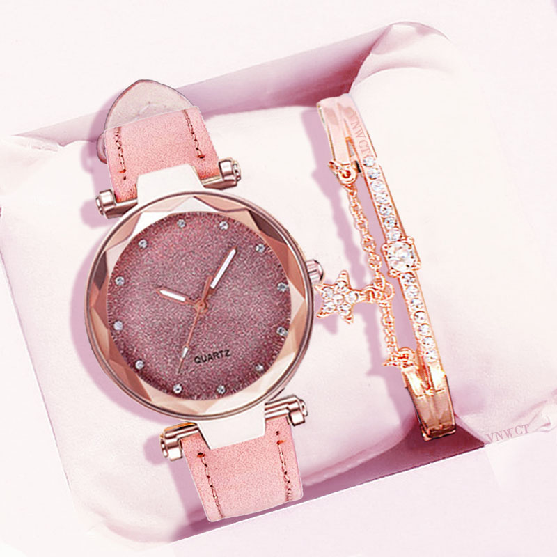 Women Starry Sky Watch Bracelet Luxury Diamond Watches Ladies Casual Leather Band Quartz Wristwatch Female Clock Zegarek Damski
